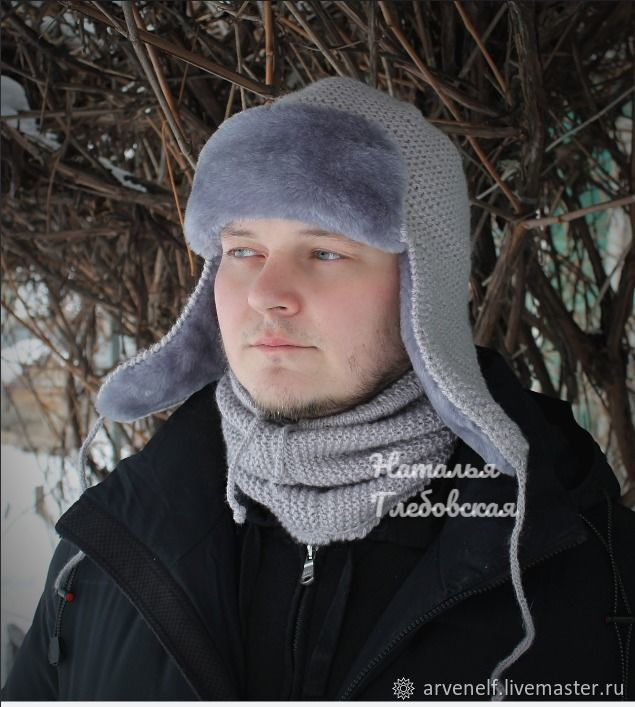 Kit 'the king in the North'. Hat-earflaps and snood, Hat with ear flaps, Orenburg,  Фото №1