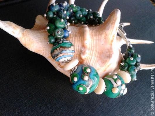 Браслеты ручной работы. Ярмарка Мастеров - ручная работа. Купить Браслет ТАЙНА ОКЕАНА из азурита. Handmade. Зеленый, браслет с камнями