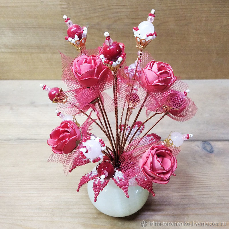BOUQUETS: Flowers made of coral and rose quartz 'The magic of the morning', Bouquets, Moscow,  Фото №1