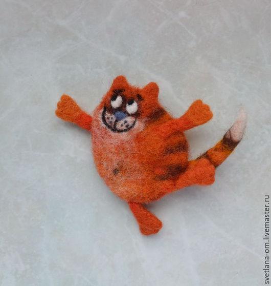 Валяная брошь, кот, котик, котенок, рыжий кот, валяная брошка, брошь ручной работы, коты ручной работы, авторское украшение, веселый кот, оригинальный подарок, подарок ручной работы.