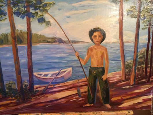 Пейзаж ручной работы. Ярмарка Мастеров - ручная работа. Купить Летний пейзаж. Рыбалка.. Handmade. Комбинированный, пейзаж с водой