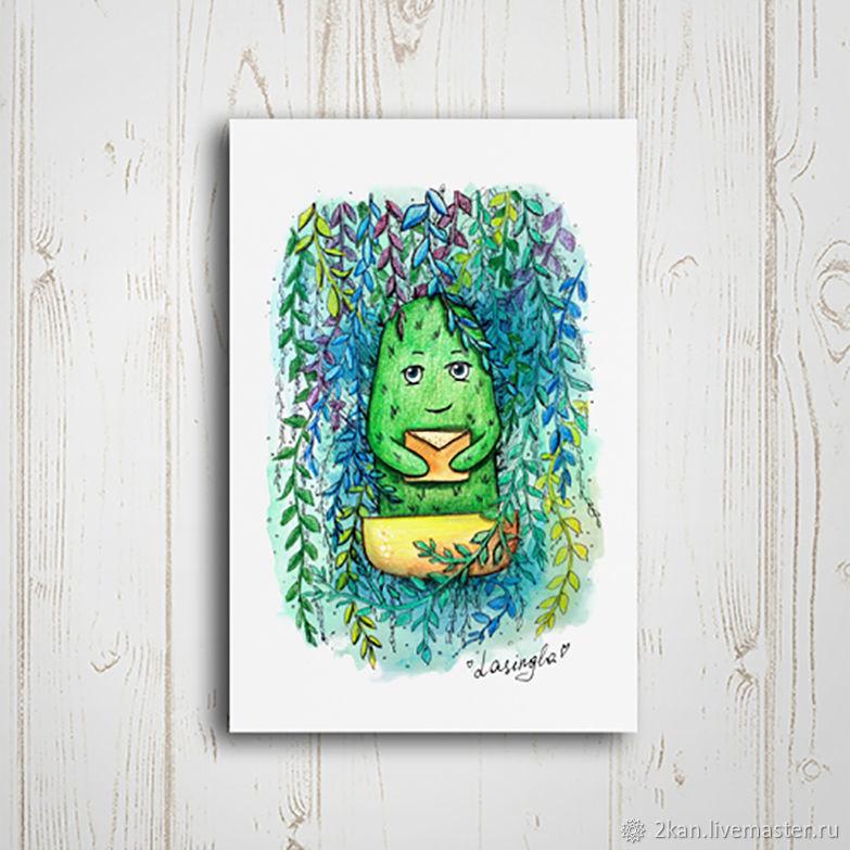 плетеная почтовая открытка кактус того чтобы никакого