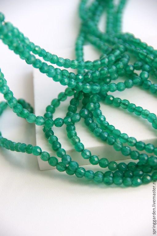 Для украшений ручной работы. Ярмарка Мастеров - ручная работа. Купить Зеленый агат  бусины РАВНОВЕСИЕ, граненый шар 4 мм. Handmade.