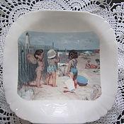 """Посуда ручной работы. Ярмарка Мастеров - ручная работа Стеклянная тарелочка """"Маленькие купальщицы"""". Handmade."""
