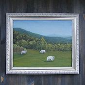 """Картины и панно ручной работы. Ярмарка Мастеров - ручная работа Картина """"Овечки"""". Handmade."""