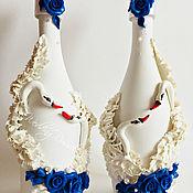 """Бутылки ручной работы. Ярмарка Мастеров - ручная работа Свадебное оформление бутылок """"Лебеди"""". Handmade."""