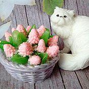 Косметика ручной работы. Ярмарка Мастеров - ручная работа Мыло Котик с корзиной цветов. Handmade.