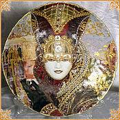 "Подарки к праздникам handmade. Livemaster - original item Interior plate-panel ""Venetian carnival costume"" Ruby ""null. Handmade."