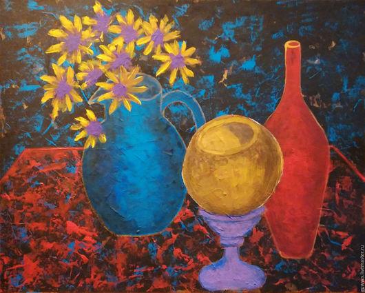 Натюрморт ручной работы. Ярмарка Мастеров - ручная работа. Купить картина натюрморт с вазами и кокосом. Handmade. Комбинированный, Живопись