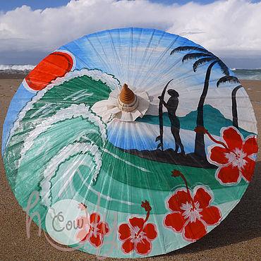 """Аксессуары ручной работы. Ярмарка Мастеров - ручная работа Расписной бамбуковый зонт """"On The Beach"""". Handmade."""