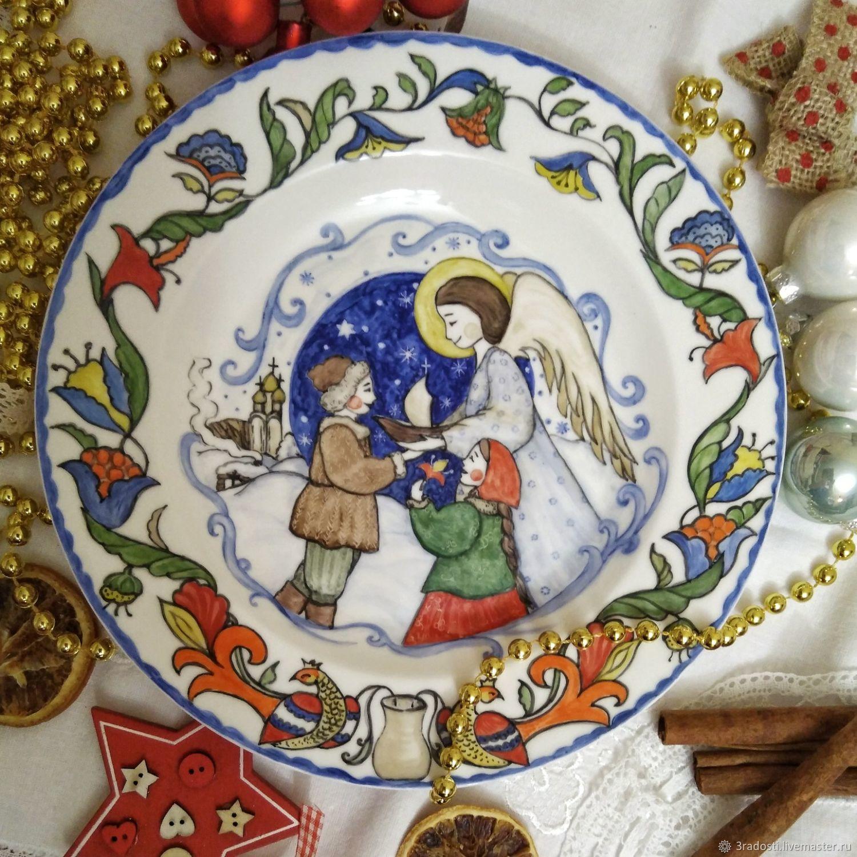 Настенная тарелка надглазурная роспись, Тарелки, Москва,  Фото №1