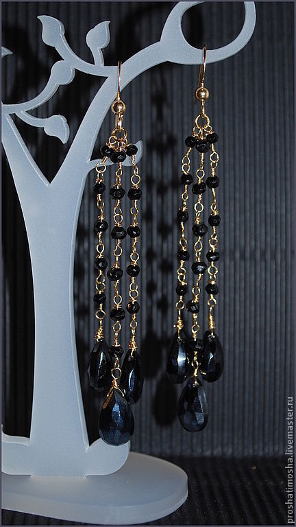 Серьги ручной работы. Ярмарка Мастеров - ручная работа. Купить серьги длинные, позолоченные, черная шпинель. Handmade. Золотой