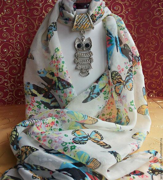 Шали, палантины ручной работы. Ярмарка Мастеров - ручная работа. Купить шарфик с подвеской-совой. Handmade. Рисунок, оригинальное украшение