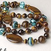 Украшения handmade. Livemaster - original item Long necklace of tiger`s eye, bracelet, earrings. Handmade.
