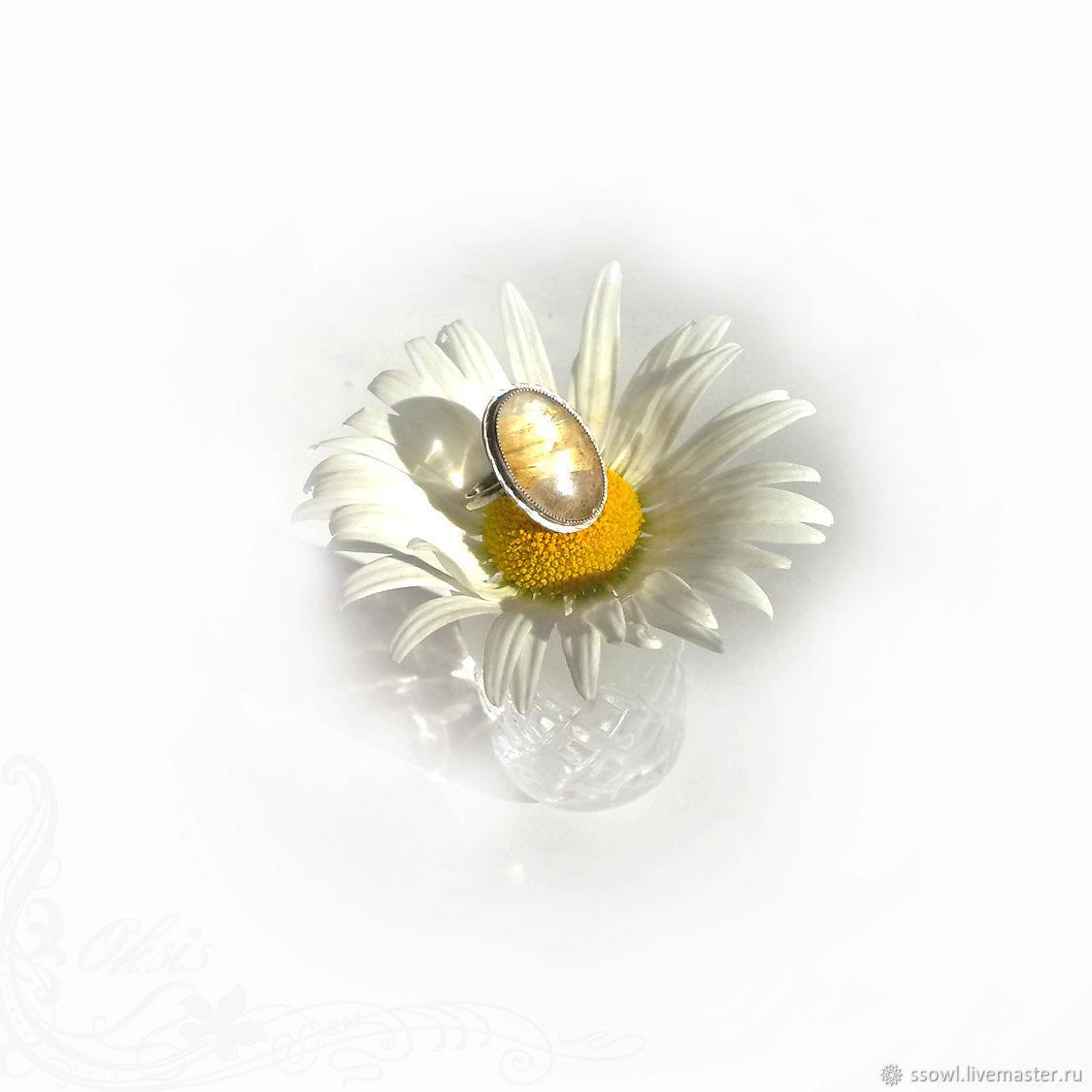 Кольцо с крупным красивым золотистым рутиловым кварцем Солнце(серебро), Кольца, Брянск,  Фото №1