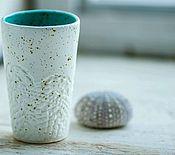 Посуда ручной работы. Ярмарка Мастеров - ручная работа Керамический стакан белый, коллекция Кружево. Handmade.