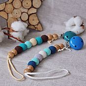 Работы для детей, handmade. Livemaster - original item Holder for pacifiers on a cotton cord with wooden clip. Handmade.