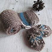 Куклы и игрушки ручной работы. Ярмарка Мастеров - ручная работа Варежки и шарфик с орнаментом для кукол Мишуткины для  Тедди. Handmade.