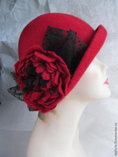 """Шляпы ручной работы. Ярмарка Мастеров - ручная работа. Купить шляпка валяная """" Целуй меня"""". Handmade. Ярко-красный"""