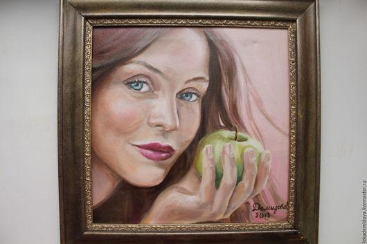 Люди, ручной работы. Ярмарка Мастеров - ручная работа. Купить Девушка с яблоком. Handmade. Кремовый, девушка, лицо девушки, яблоко