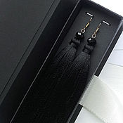 Украшения handmade. Livemaster - original item Black tassel earrings