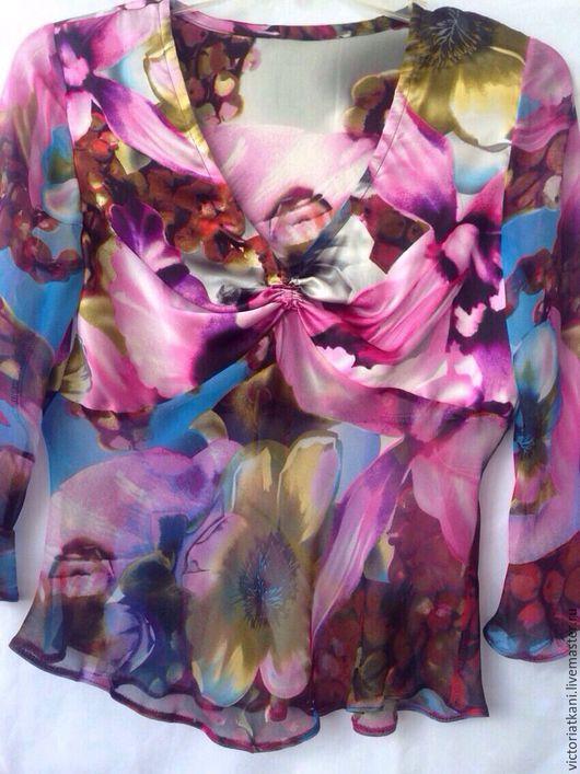 """Блузки ручной работы. Ярмарка Мастеров - ручная работа. Купить Блуза """"Цветы"""". Handmade. Комбинированный, блуза батик"""