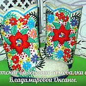 Обувь ручной работы handmade. Livemaster - original item Children`s VALENKI on a sole with volume embroidery.. Handmade.