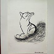 """Картины ручной работы. Ярмарка Мастеров - ручная работа Картина тушью """"Лисичка"""". Handmade."""