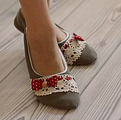 Обувь ручной работы handmade. Livemaster - original item Homemade fabric Slippers-ballet flats denim. Handmade.