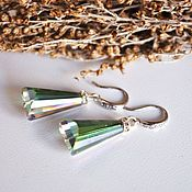 Украшения handmade. Livemaster - original item Earrings with crystals - emerald. Handmade.