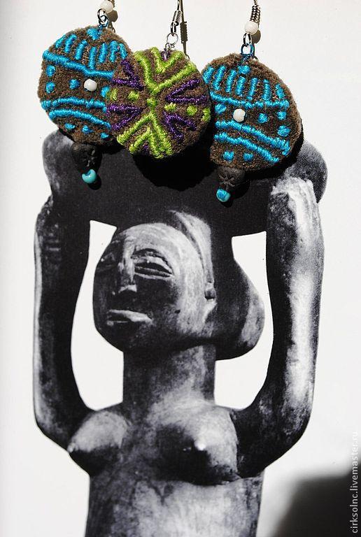 Серьги ручной работы. Ярмарка Мастеров - ручная работа. Купить сережки  Малая африка с вышивкой. Handmade. Ручная вышивка, бусины