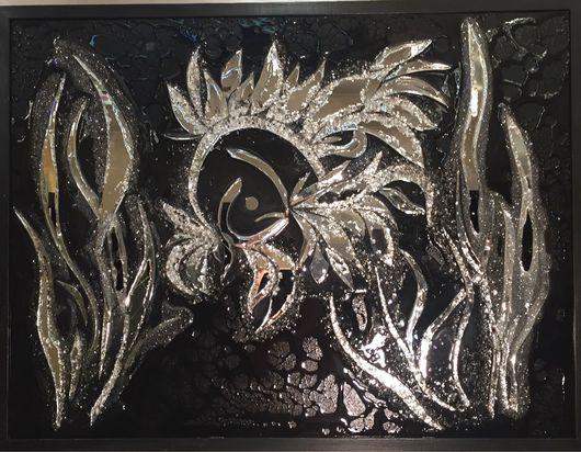 Абстракция ручной работы. Ярмарка Мастеров - ручная работа. Купить The fish. Handmade. Серебряный, зеркало, Картины и панно, океан