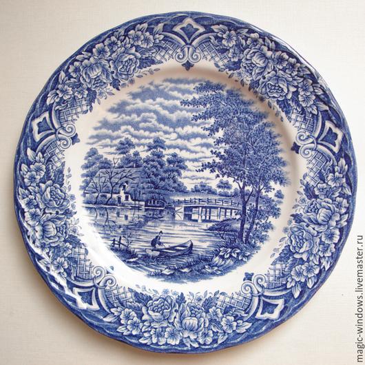 """Винтажная посуда. Ярмарка Мастеров - ручная работа. Купить Винтажная тарелка """"Homeland"""" - Англия. Handmade. Тёмно-синий, тарелка на стену"""