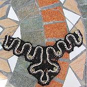 Украшения ручной работы. Ярмарка Мастеров - ручная работа Чёрное кружевное колье на цепочке. Handmade.