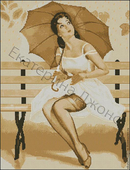 """Скрин авторской схемы для вышивки крестом """"Девушка с зонтом""""."""