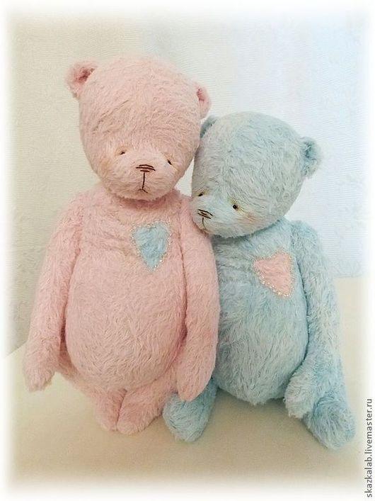 Мишки Тедди ручной работы. Ярмарка Мастеров - ручная работа. Купить Айно и Рей (любящая душа). Handmade. Розовый, вискоза