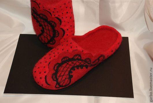 """Обувь ручной работы. Ярмарка Мастеров - ручная работа. Купить Тапочки валяные """"Energy"""". Handmade. Коралловый, тапочки валяные"""