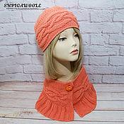 Аксессуары handmade. Livemaster - original item Knitted set coral color.Hat and boa.. Handmade.