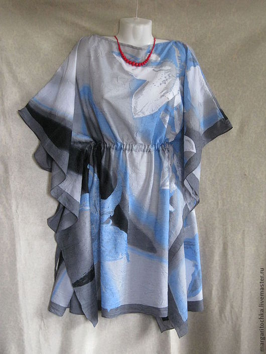 """Пляжные платья ручной работы. Ярмарка Мастеров - ручная работа. Купить """"Серо-голубое"""" легкое пляжное платье. Handmade."""