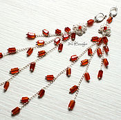 Украшения handmade. Livemaster - original item Very long silver earrings with carnelian