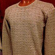"""Одежда handmade. Livemaster - original item 100% лён.Мужской джемпер с длинным рукавом """"Дорожки"""". Handmade."""