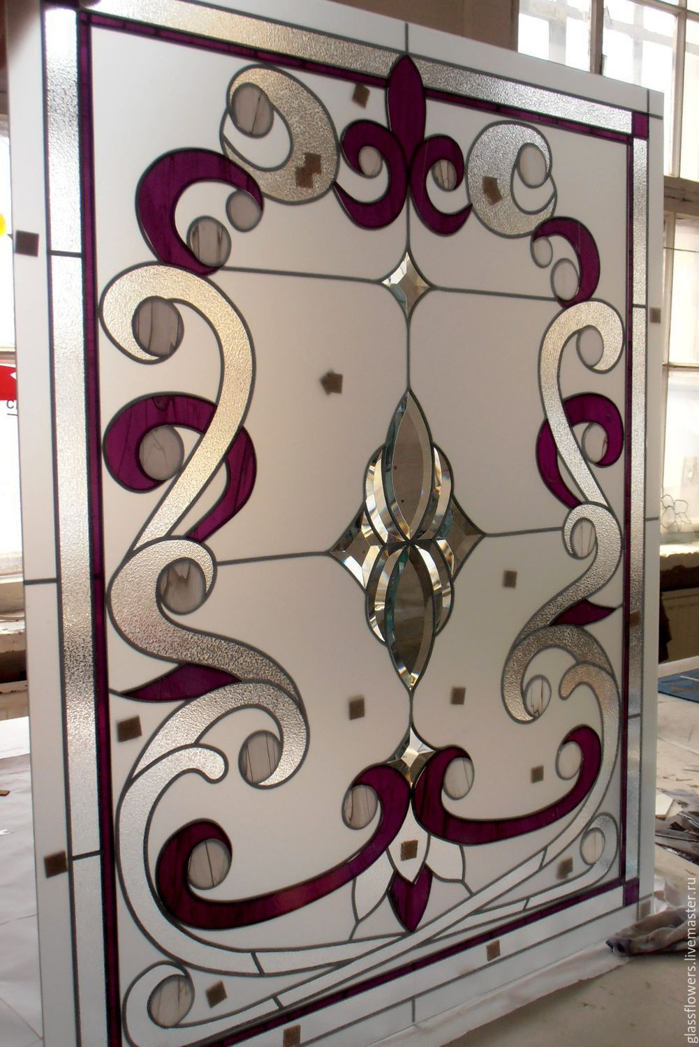 Interior Items handmade. Livemaster - handmade. Buy Purple patterns. A stained glass window. English stained glass.