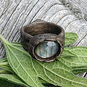Украшения handmade. Livemaster - original item Copy of Ring made of bog oak with agate. Handmade.