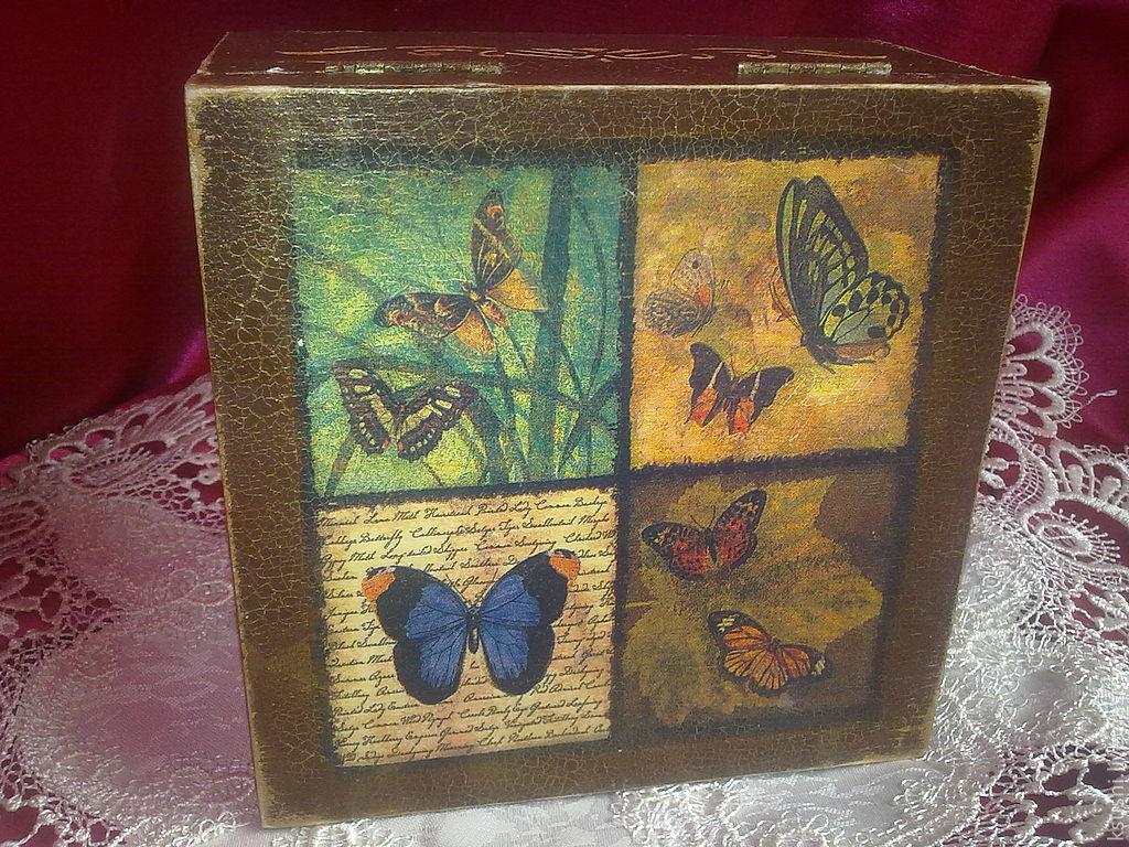 Trinket Boxes handmade. Livemaster - handmade. Buy box butterfly.Gift, handmade souvenirs, stencil