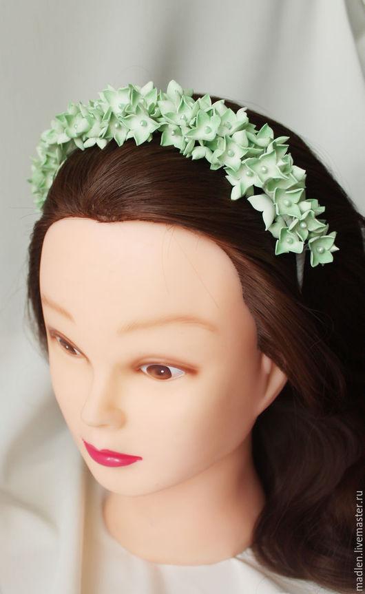 """Диадемы, обручи ручной работы. Ярмарка Мастеров - ручная работа. Купить Ободок из фоамирана """"Гортензия"""" (зеленая). Handmade. Зеленый"""