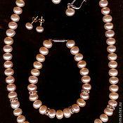 Украшения handmade. Livemaster - original item natural pink pearls and swarovski rondels. Handmade.