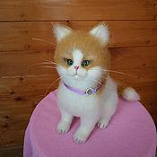 Мягкие игрушки ручной работы. Ярмарка Мастеров - ручная работа Валяный котик. Handmade.