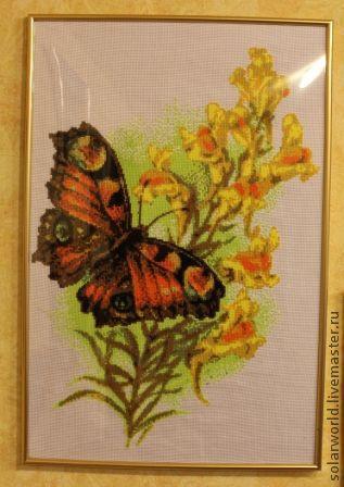 Натюрморт ручной работы. Ярмарка Мастеров - ручная работа. Купить вышивка крестом Махаон. Handmade. Вышивка крестом, бабочка