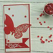 """Открытки ручной работы. Ярмарка Мастеров - ручная работа Открытка """"Бабочка"""" (красная). Handmade."""