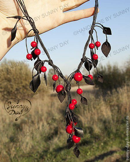 Jewelry Sets handmade. Livemaster - handmade. Buy Set 'Wildberry' (red) (earrings necklace).Red coral, leaves, accessories